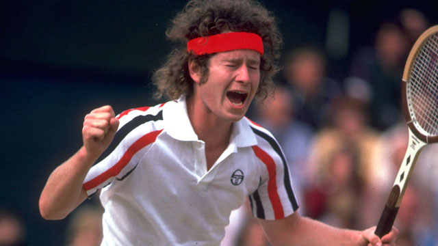 PHOTO: John McEnroe reacts with anger after an umpire call at the 1980 Wimbledon Championships.