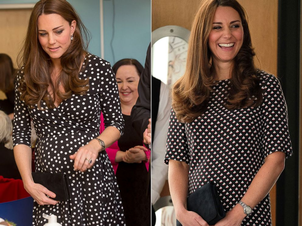 PHOTO: Catherine, Duchess of Cambridge, seen left on March 18, 2015 and right on Feb. 12, 2015.