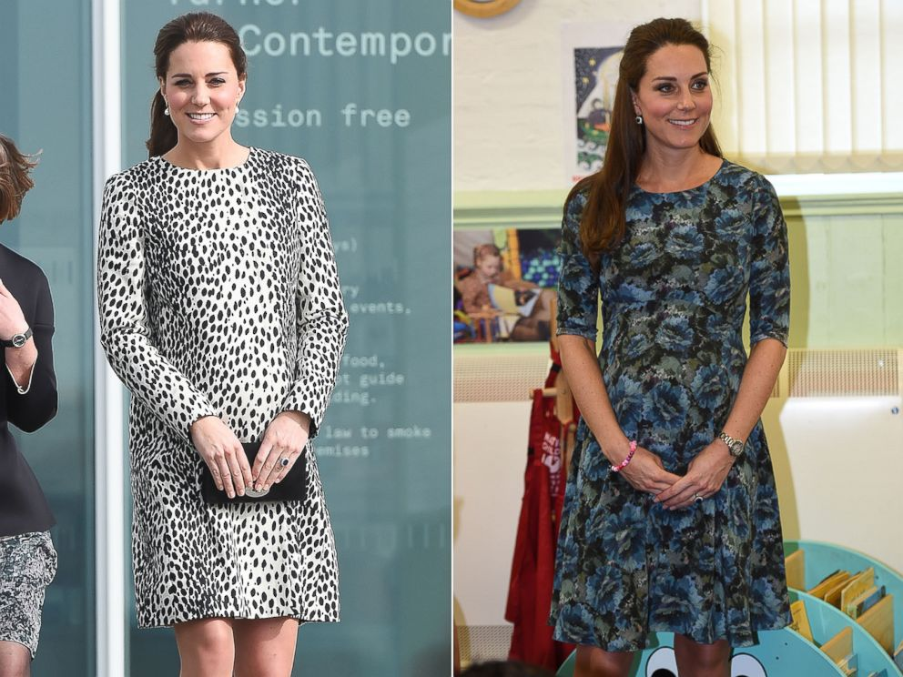 PHOTO: Catherine, Duchess of Cambridge, is seen in left on March 11, 2015 and right, on Feb. 18, 2015.