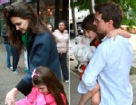 PHOTO: Katie Holmes and daughter Suri Cruise outside Sugar And Plumm, left, and Tom Cruise and Suri seen on the Streets of Manhattan.