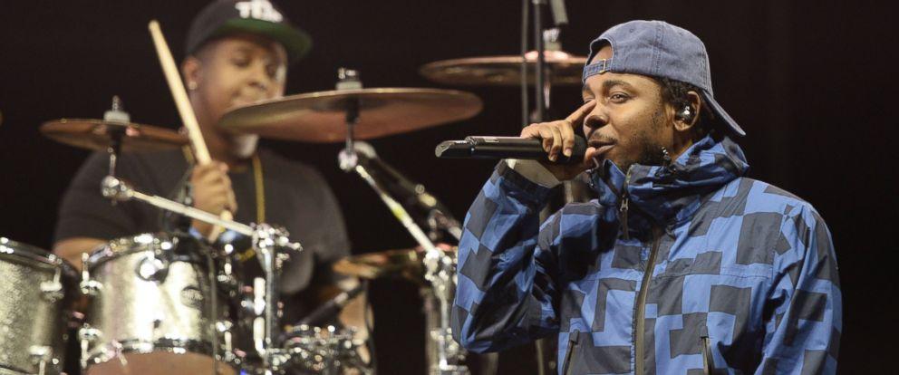 PHOTO: Rapper Kendrick Lamar performs onstage at the Rose Bowl on Feb. 21, 2015 in Pasadena, Calif.