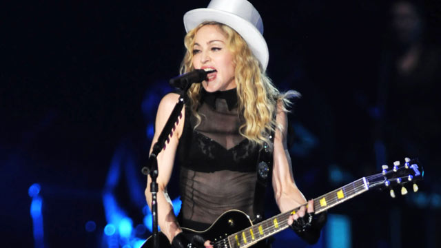 "PHOTO: Madonna performs on stage during her ""Sticky and Sweet"" tour concert in Tel Aviv, Israel."