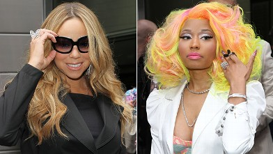 """PHOTO: Mariah Carey and Nicki Minaj attend the """"American Idol"""" Judges And Host Photo Call at Jazz at Lincoln Center on Sept. 16, 2012 in New York City."""