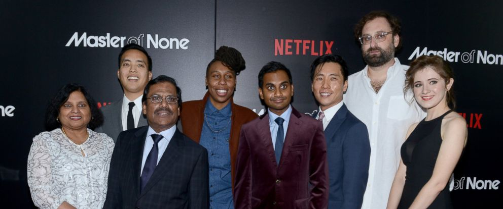 """PHOTO: The cast of """"Master Of None"""" attend the New York premiere at AMC Loews 19th Street East 6 Theater on Nov. 5, 2015 in New York."""