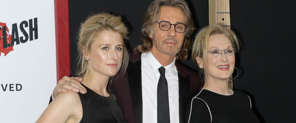 """PHOTO: Actress Mamie Gummer, musician/actor Rick Springfield and actress Meryl Streep attend the """"Ricki And The Flash"""" New York premiere on Aug. 3, 2015 in New York City."""