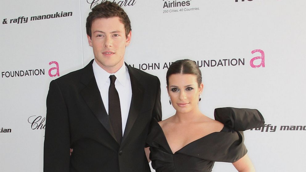 PHOTO: Cory Monteith and Lea Michele arrive at the 18th annual Elton John AIDS Foundations Oscar Viewing Party held at the Pacific Design Center on March 7, 2010 in Los Angeles.