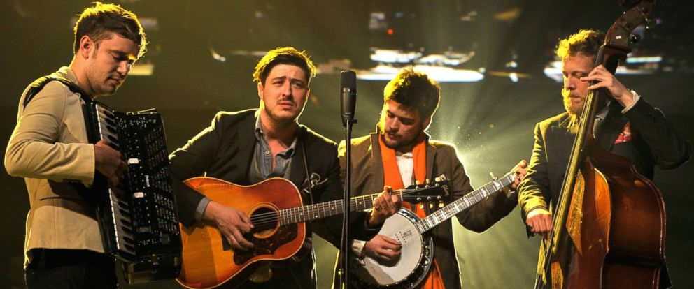PHOTO: From the left, Ben Lovett, Marcus Mumford, Country Winston Marshall and Ted Dwane of Mumford and Sons perform on Feb. 8, 2013 in Los Angeles.