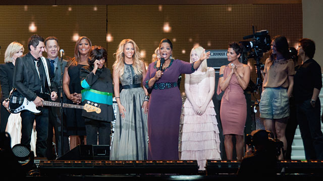PHOTO: From left to right: Diane Sawyer, Jay DeMarcus, Tom Hanks, Queen Latifah, Patti LaBelle, Beyonce, Madonna, Oprah, Dakota Fanning, Halle Berry and Katie Holmes and Tom Cruise.