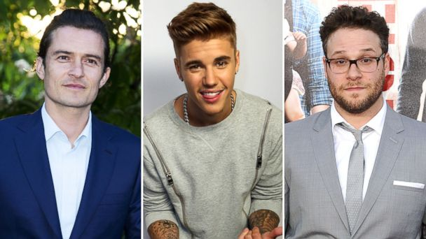 PHOTO: Orlando Bloom is seen in London, England on July 1, 2014, Justin Bieber in Los Angeles, Calif. on July 27, 2014, and Seth Rogen on April 28, 2014 in Westwood, Calif.