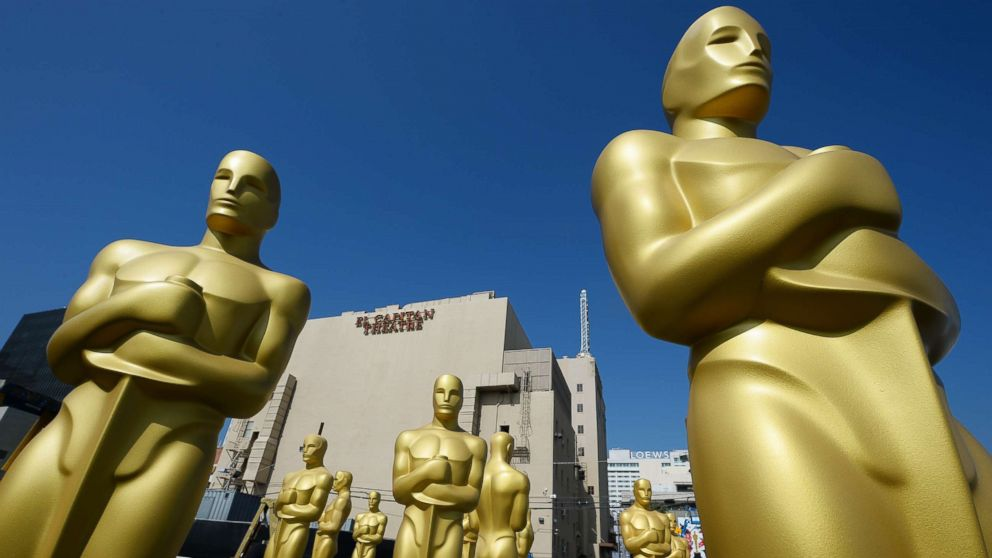 Oscar statues are seen near the red carpet as preparations are underway for the 87th annual Academy Awards, Feb. 18, 2015 in Hollywood, Calif.