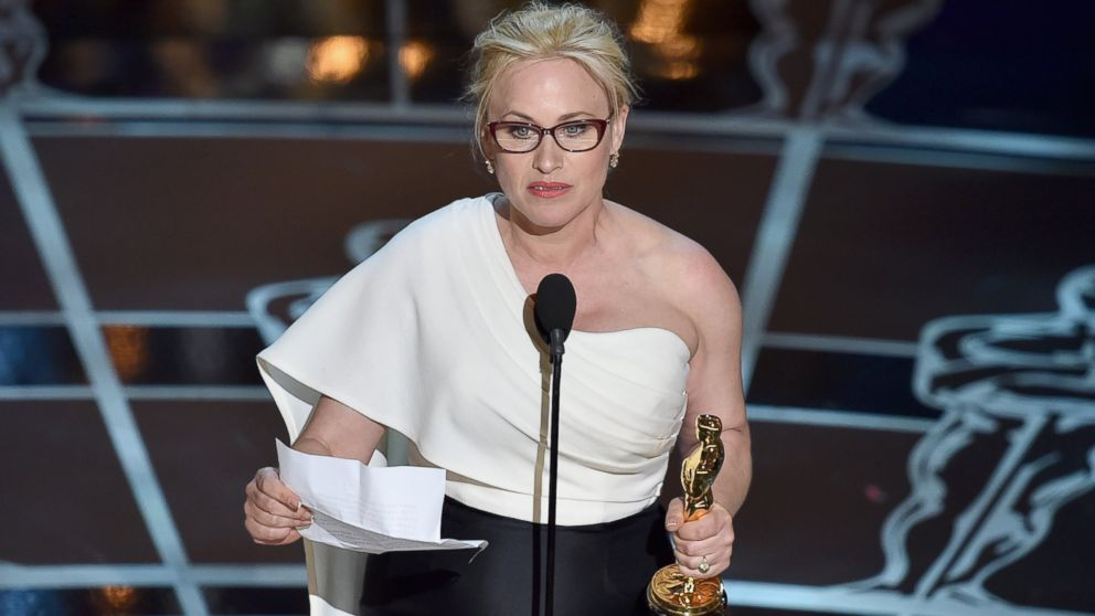 "Actress Patricia Arquette accepts the award for Best Actress in a Supporting Role for ""Boyhood"" during the 87th Annual Academy Awards, Feb. 22, 2015 in Hollywood, California."