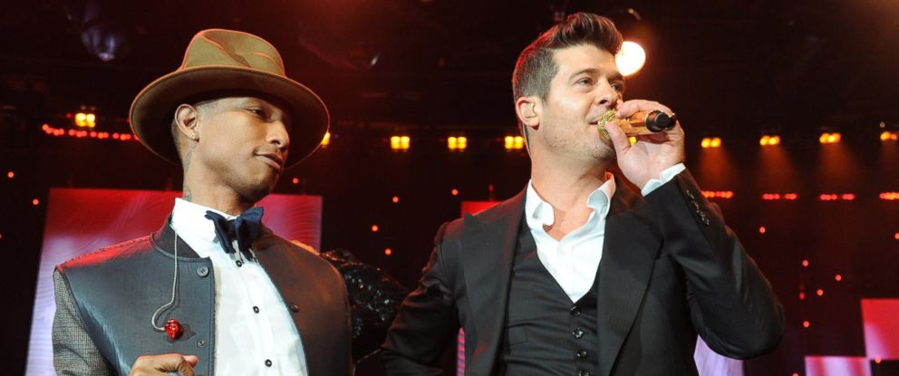 PHOTO: Pharrell Williams and Robin Thicke perform at a Grammy gala at The Beverly Hilton on Jan. 25, 2014 in Los Angeles, Calif.