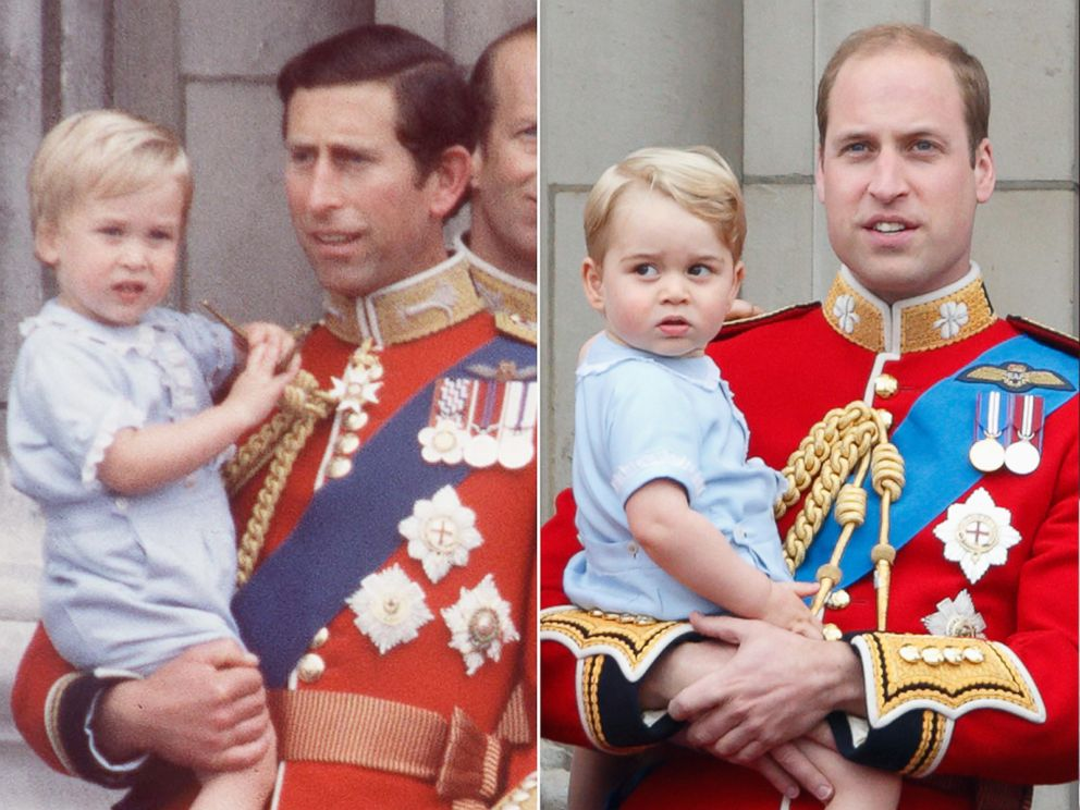 PHOTO: From left, Prince Charles and Prince William on June 16, 1984 and Prince William and Prince George on June 13, 2015.