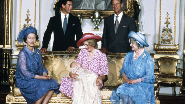 PHOTO: Diana, Princess of Wales holds her son Prince William with Charles, Prince of Wales, Prince Philip the Duke of Edinburgh, Queen Elizabeth II (left) and Queen Elizabeth the Queen Mother at Buckingham Palalce after Prince William's christening ceremo