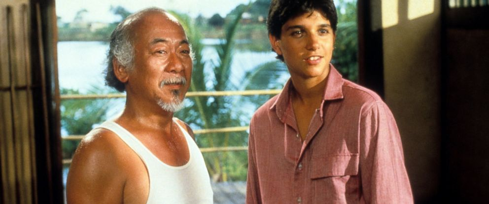 PHOTO: Pat Morita and Ralph Macchio in a scene from the film The Karate Kid, 1984.