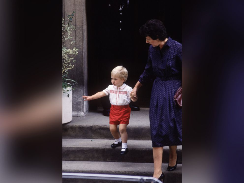 PHOTO: Prince William with his nanny Barbara Barnes leave St. Marys Hospital on Sept. 15, 1984 in London.