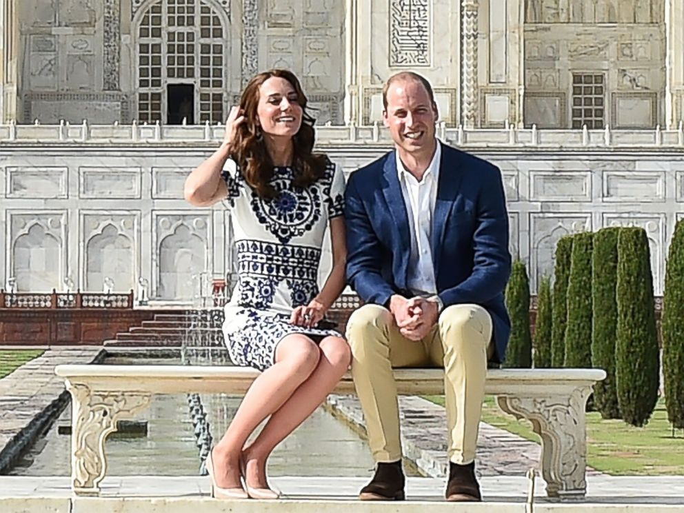 PHOTO: Britains Prince William, Duke of Cambridge, and Catherine, Duchess of Cambridge, pose at The Taj Mahal in India on April 16, 2016.
