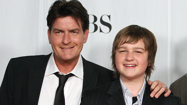 PHOTO: Charlie Sheen, left, and Angus T. Jones pose in the press room at the 35th Annual Peoples Choice Awards held at the Shrine Auditorium, Jan. 7, 2009 in Los Angeles, CA.