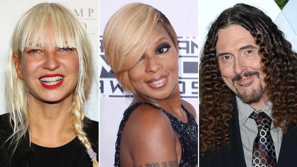 """Sia is pictured in New York City on June 4, 2014, Mary J. Blige is seen in Los Angeles, Calif. on Nov. 23, 2014 and """"Weird Al"""" Yankovic attends a party in Los Angeles, Calif. on Dec. 4, 2014."""