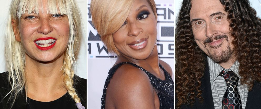 "PHOTO: Sia is pictured in New York City on June 4, 2014, Mary J. Blige is seen in Los Angeles, Calif. on Nov. 23, 2014 and ""Weird Al"" Yankovic attends a party in Los Angeles, Calif. on Dec. 4, 2014."