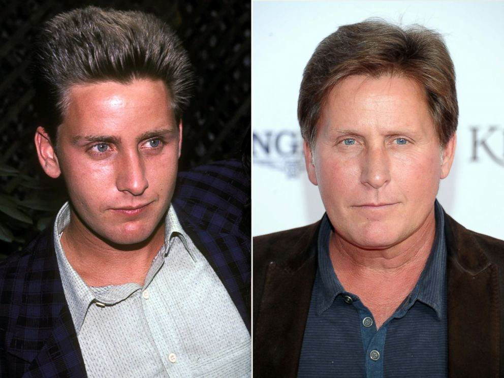 """PHOTO: Emilio Estevez is seen in New York while promoting """"St. Elmo's Fire"""" in 1985 and at the 139th Kentucky Derby in Louisville in 2013."""