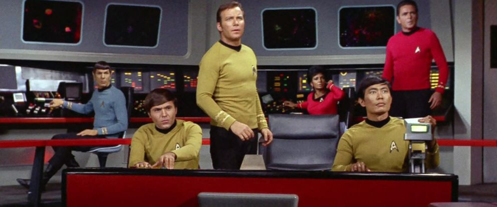 "PHOTO: Leonard Nimoy as Mr. Spock, Walter Koenig as Pavel Chekov, William Shatner as Captain James T. Kirk, Nichelle Nichols as Uhura, George Takei as Hikaru Sulu and James Doohan as Montgomery ""Scotty"" Scott in a scene from Star Trek."