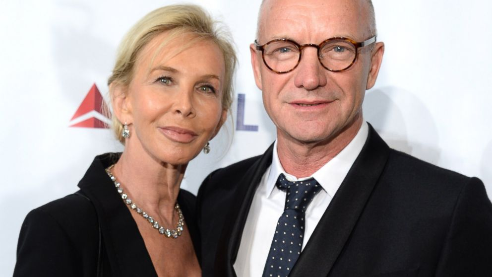 Trudie Styler and Sting attend the Friars Foundation Gala honoring Robert De Niro and Carlos Slim at The Waldorf Astoria on Oct. 7, 2014 in New York City.