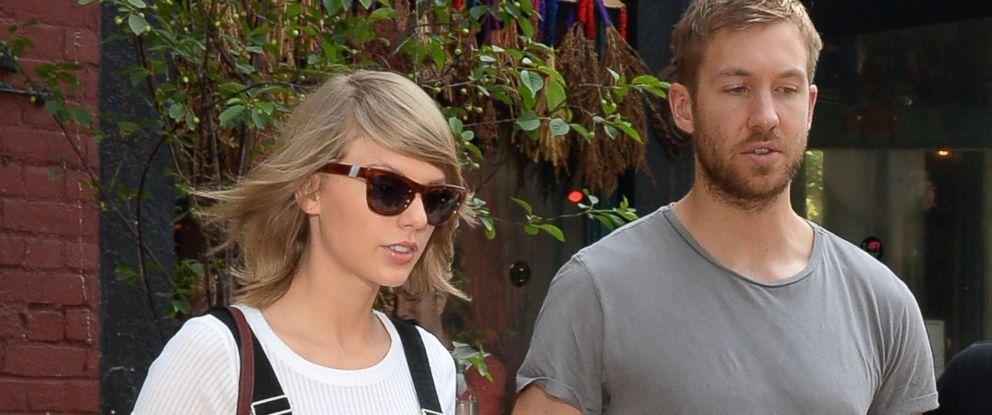 PHOTO: Singer Taylor Swift and Calvin Harris coming out of the spotted Pig in Soho on May 28, 2015 in New York City.
