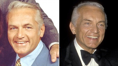 PHOTO: Ted Knight as Ted Baxter poses in a publicity portrait for the CBS situation comedy 'Mary Tyler Moore' show, California, 1971; Ted Knight in Santa Monica, Calif, March 23, 1986. Knight passed away five months later.