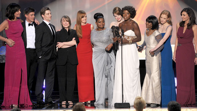 "PHOTO: The cast of ""The Help"" accepts the Outstanding Performance by a Cast in a Motion Picture award, during the 18th Annual Screen Actors Guild Awards at The Shrine Auditorium, Jan. 29, 2012 in Los Angeles, Calif."