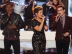 PHOTO: Contestants for The Voice, left to right, Will Champlin, Jacquie Lee, Matthew Schuler, Tessanne Chin, James Wolpert, and Cole Vosbury perform during the live show, Dec. 3, 2013.