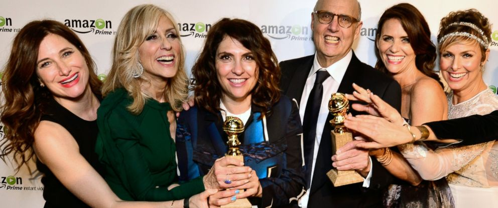 """PHOTO: Kathryn Hahn, Judith Light, show creator Jill Soloway, Jeffrey Tambor, Amy Landecker, and Melora Hardin attend the """"Transparent"""" Cast and Crew Golden Globes Viewing Party on Jan. 11, 2015 in West Hollywood, Calif."""