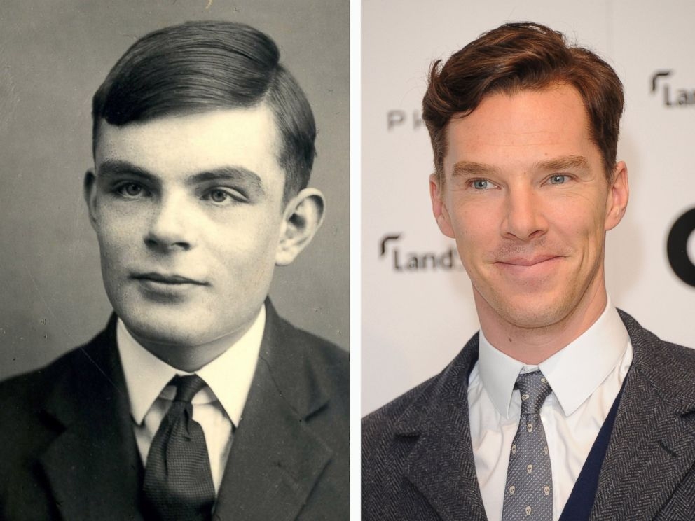PHOTO: In this composite image a comparison has been made between Alan Turing (L) and actor Benedict Cumberbatch.
