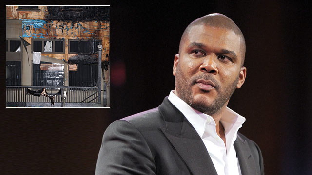 PHOTO: Director Tyler Perry speaks onstage at Cipriani, Wall Street in New York City and inset of facade of Tyler Perry Studios in southwest Atlanta, May 1, 2012.