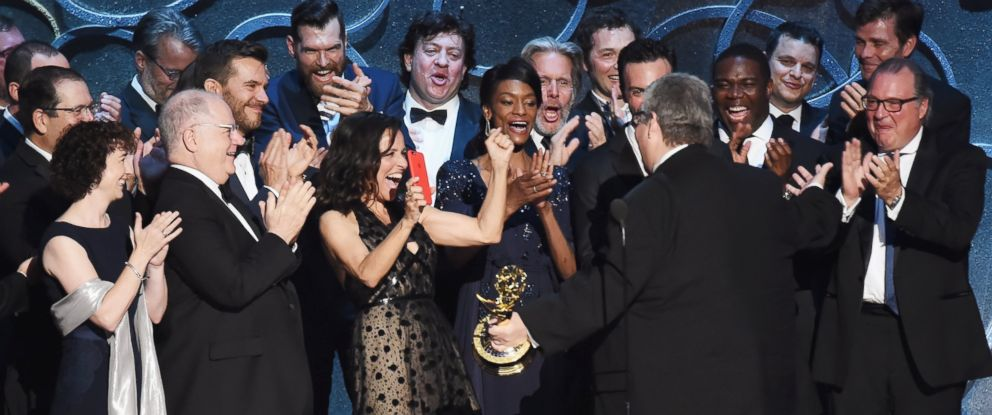 PHOTO: Actress Julia Louis-Dreyfus and the Veep team celebrate with producer David Mandel after winning the award for Outstanding Comedy Series during the 68th Annual Primetime Emmy Awards, Sept. 18, 2016 in Los Angeles, California.