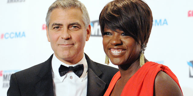 PHOTO: Actor George Clooney and actress Viola Davis pose at the 17th Annual Critics Choice Movie Awards Press Room at The Hollywood Palladium on Jan. 12, 2012 in Los Angeles, Cali.