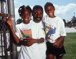 PHOTO: Venus and Serena Williams are pictured with their father/coach, Richard, Compton, Los Angeles, 1994.
