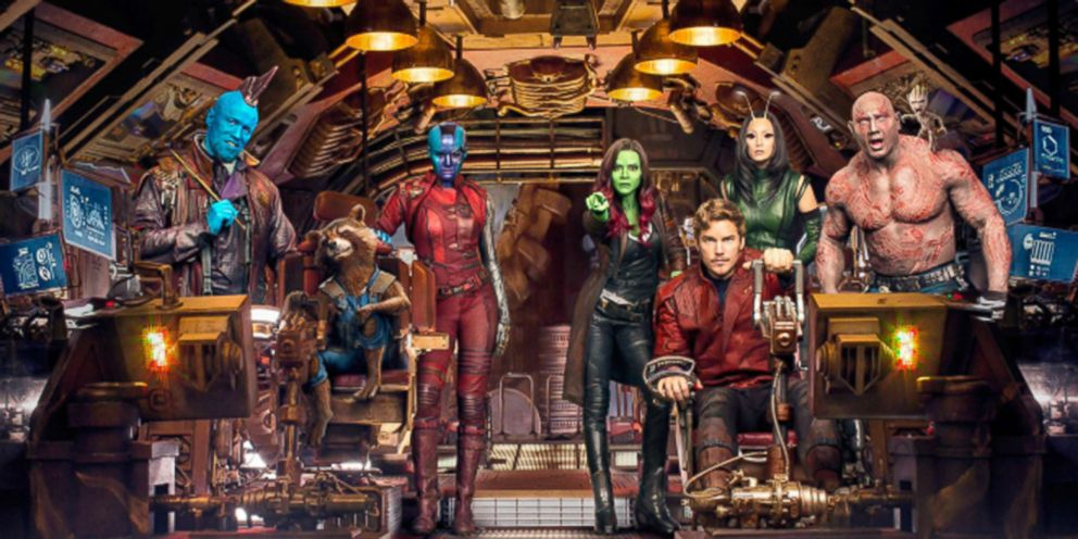 PHOTO: Vin Diesel, Bradley Cooper, Chris Pratt, Michael Rooker, Zoe Saldana, Dave Bautista, Karen Gillan, and Pom Klementieff pose for a cast photo for Guardians of the Galaxy.