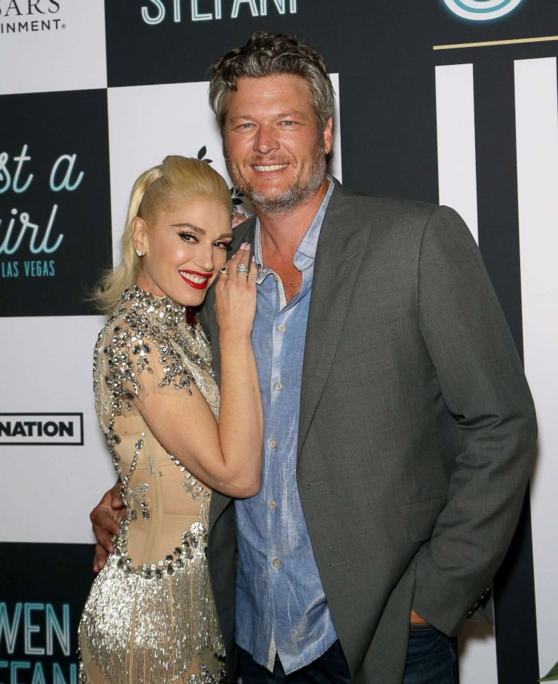 PHOTO: Gwen Stefani and Blake Shelton attend the grand opening of the Gwen Stefani - Just a Girl residency at Planet Hollywood Resort & Casino on June 28, 2018 in Las Vegas.