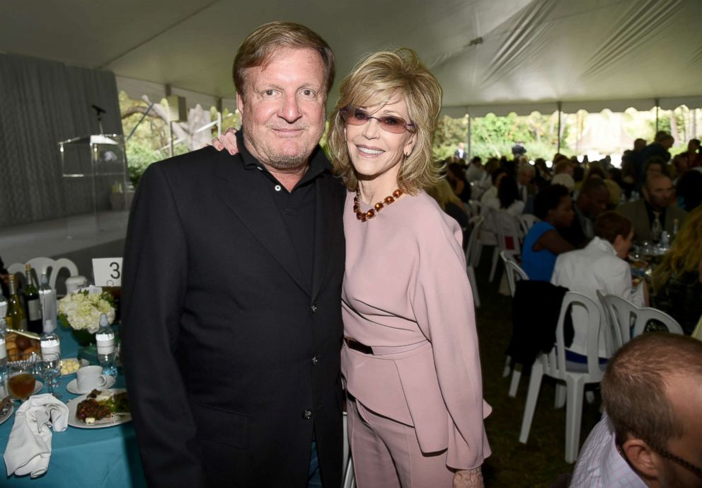 Ronald Burkle (L) and host Jane Fonda attend The Rape Foundation?s Annual Brunch at Greenacres on September 28, 2014 in Beverly Hills, California.
