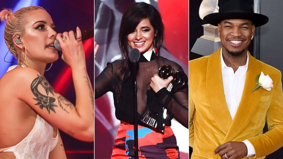 Halsey performs, March 24, 2018, in Miami.|Camila Cabello accepts the an award during the iHeartRadio Music Awards, March 11, 2018 in Inglewood, Calif.| Ne-Yo attends the Annual Grammy Awards, Jan. 28, 2018, in New York City.