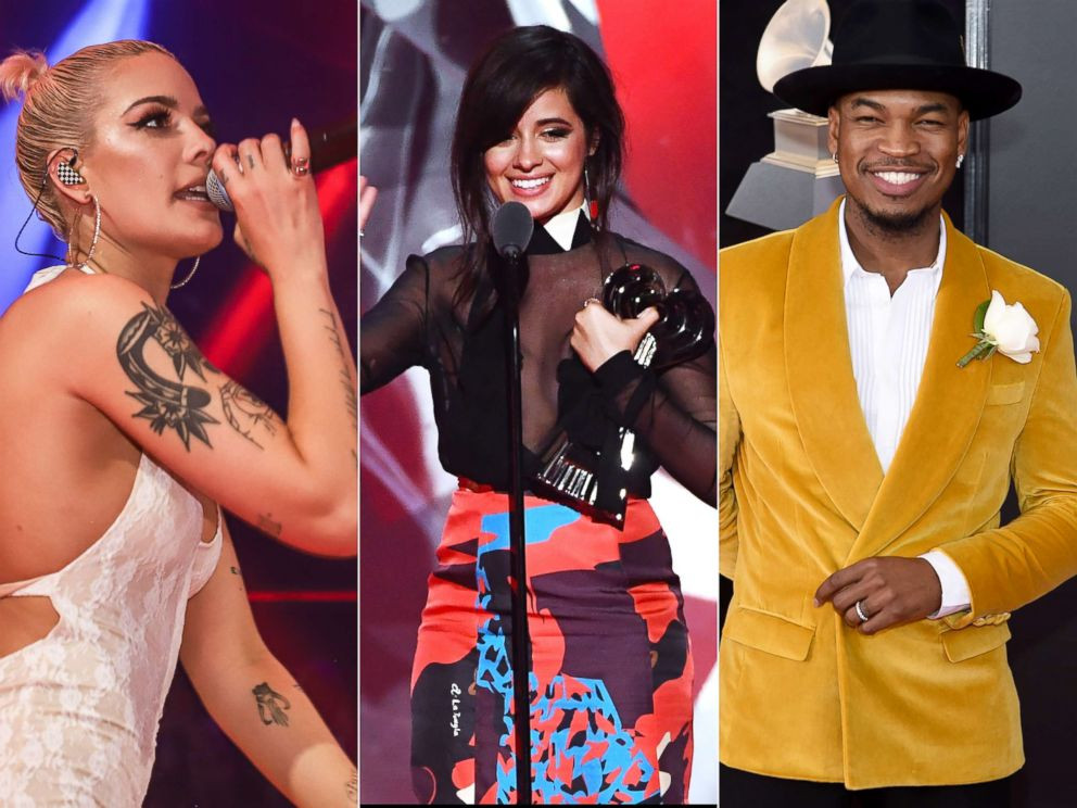 PHOTO: Halsey performs, March 24, 2018, in Miami.|Camila Cabello accepts the an award during the iHeartRadio Music Awards, March 11, 2018 in Inglewood, Calif.| Ne-Yo attends the Annual Grammy Awards, Jan. 28, 2018, in New York City.