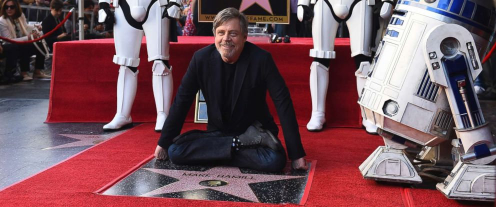 "PHOTO: Mark Hamill, who plays Luke Skywalker in the ""Star Wars"" films, poses at a ceremony honoring him with a star on the Hollywood Walk of Fame, March 8, 2018, in Los Angeles."