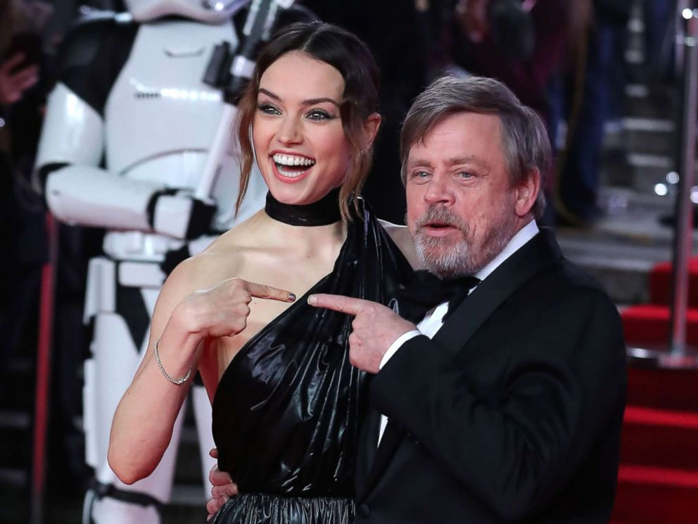 PHOTO: Daisy Ridley and Mark Hamil pose on the red carpet for the European Premiere of Star Wars: The Last Jedi at the Royal Albert Hall in London, Dec. 12, 2017.