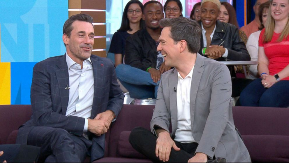 PHOTO: Jon Hamm and Ed Helms on Good Morning America, June 13, 2018, in New York City.