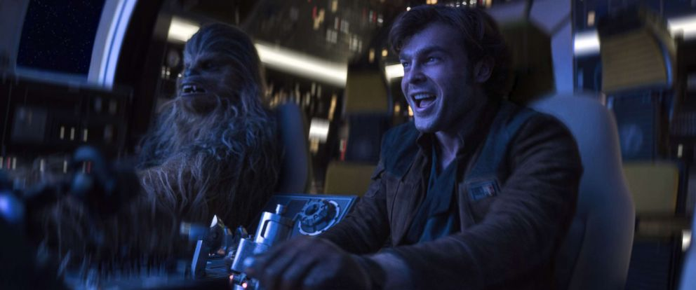 "PHOTO: Alden Ehrenreich is Han Solo and Joonas Suotamo is Chewbacca in ""Solo: A Star Wars Story."""