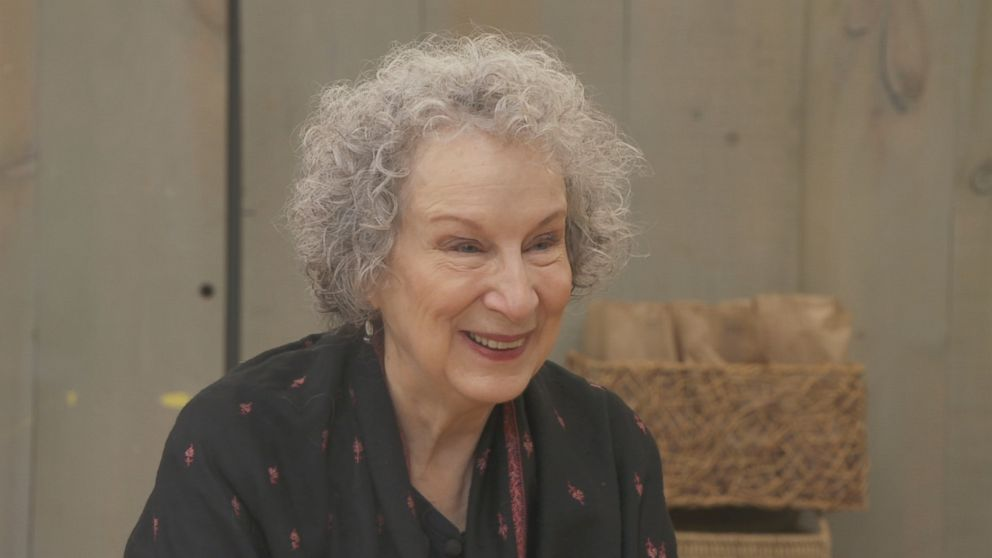 PHOTO: The Handmaids Tale author Margaret Atwood discusses the book and the TV show with ABC News Nightline.