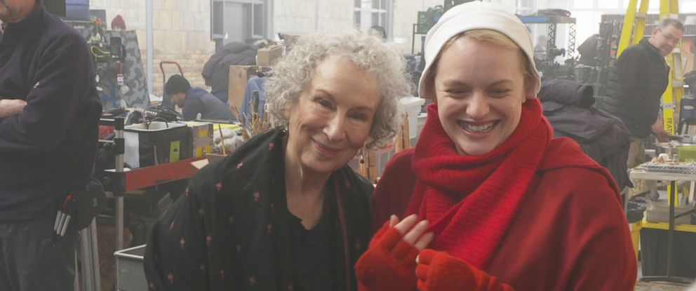 "PHOTO: ""The Handmaids Tale"" author Margaret Atwood and the star of the ""The Handmaids Tale"" show Elisabeth Moss are pictured together."