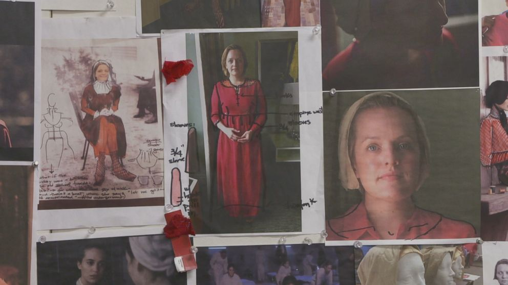 PHOTO: Details of Elisabeth Moss The Handmaids Tale costume are seen here.
