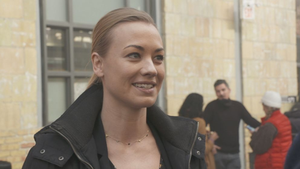 PHOTO: Yvonne Strahovski discusses her role on The Handmaids Tale with ABC News Nightline.